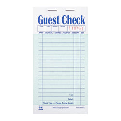 GUEST CHECK PAPER INTERLEAV CARBON 2 PT BOOKED
