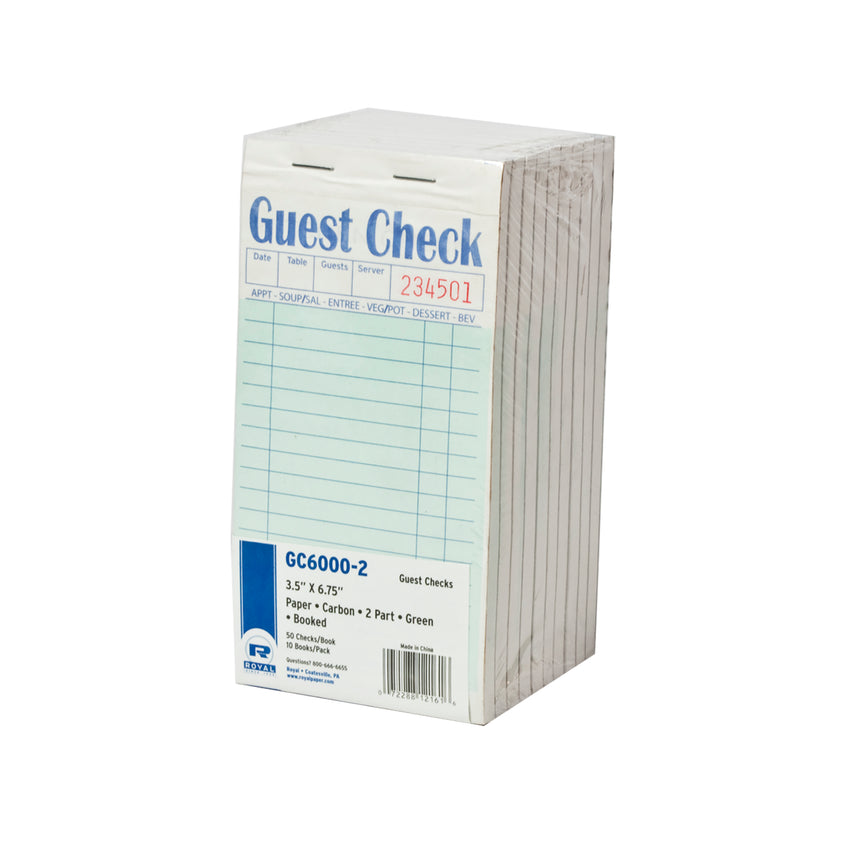 Green Guest Check 2-Part Booked, Interleave, Carbon, Inner Package