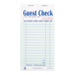 GUEST CHECK PAPER CARBONLESS 2 PART BOOKED 17 LINES GREEN