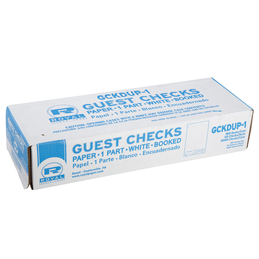 White Guest Checks, 1-Part Booked, Unlined, Closed Case