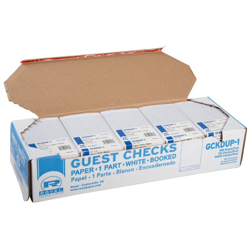 White Guest Checks, 1-Part Booked, Unlined, Open Case