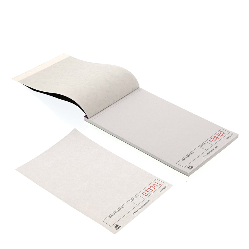 White Guest Checks, 1-Part Booked, Unlined, Two Guest Checks Side By Side