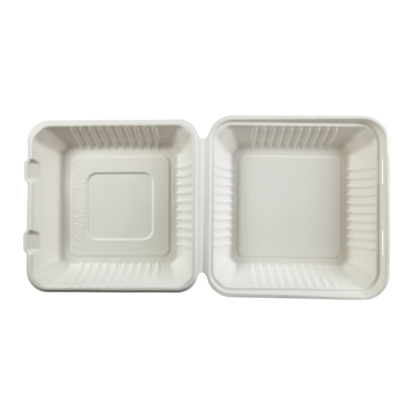 "Large Hinged Lid Containers 9"" x 9"" x 3.19"", Opened Container, Overhead View"