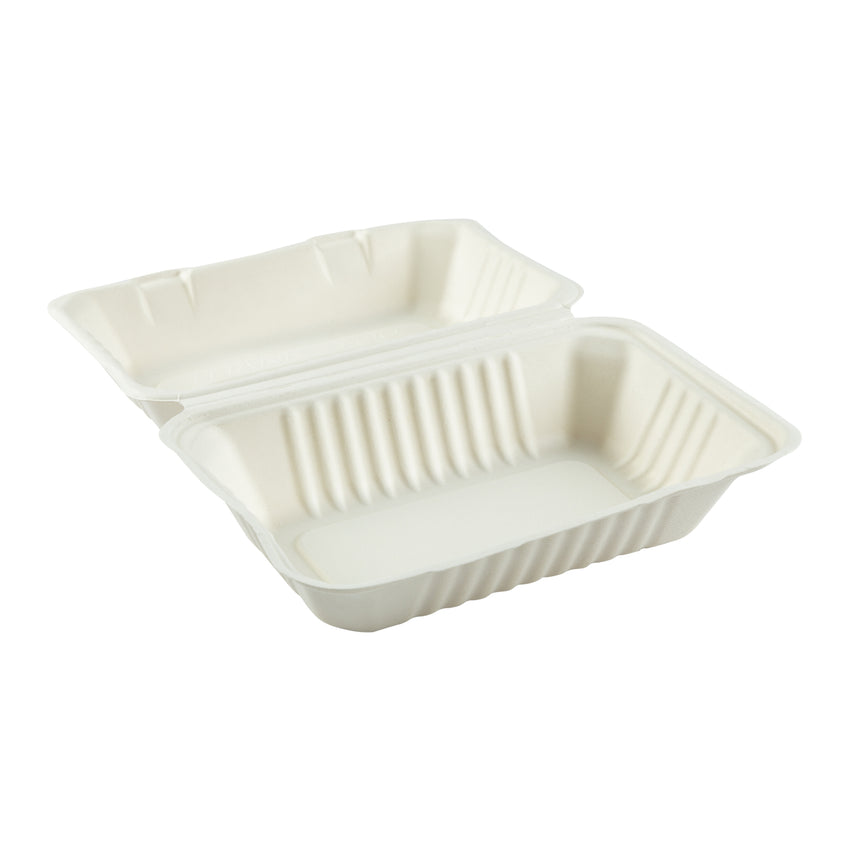 "Hoagie Hinged Lid Containers 9"" x 6"", Opened Container, Side View"