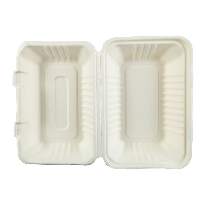 "Hoagie Hinged Lid Containers 9"" x 6"", Opened Container, Overhead View"