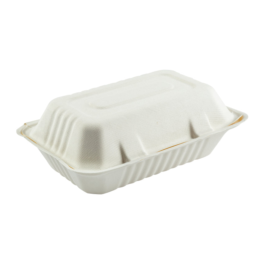 "Hoagie Hinged Lid Containers 9"" x 6"", Closed Container, Side View"