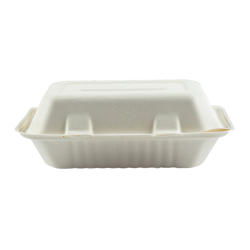 "Hoagie Hinged Lid Containers 9"" x 6"", Closed Container, Front View"