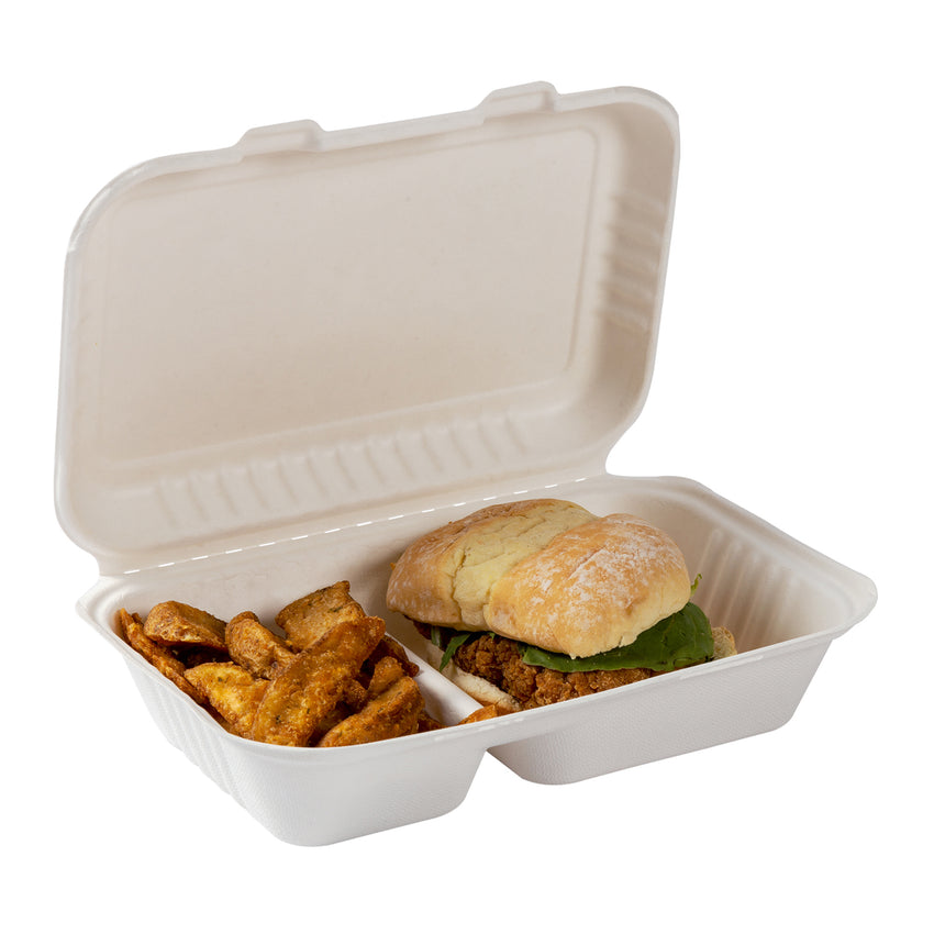 "2-section Hinged Lid Containers 9"" x 6"", with food"