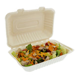"Hoagie Hinged Lid Containers 9"" x 6"", with Food"