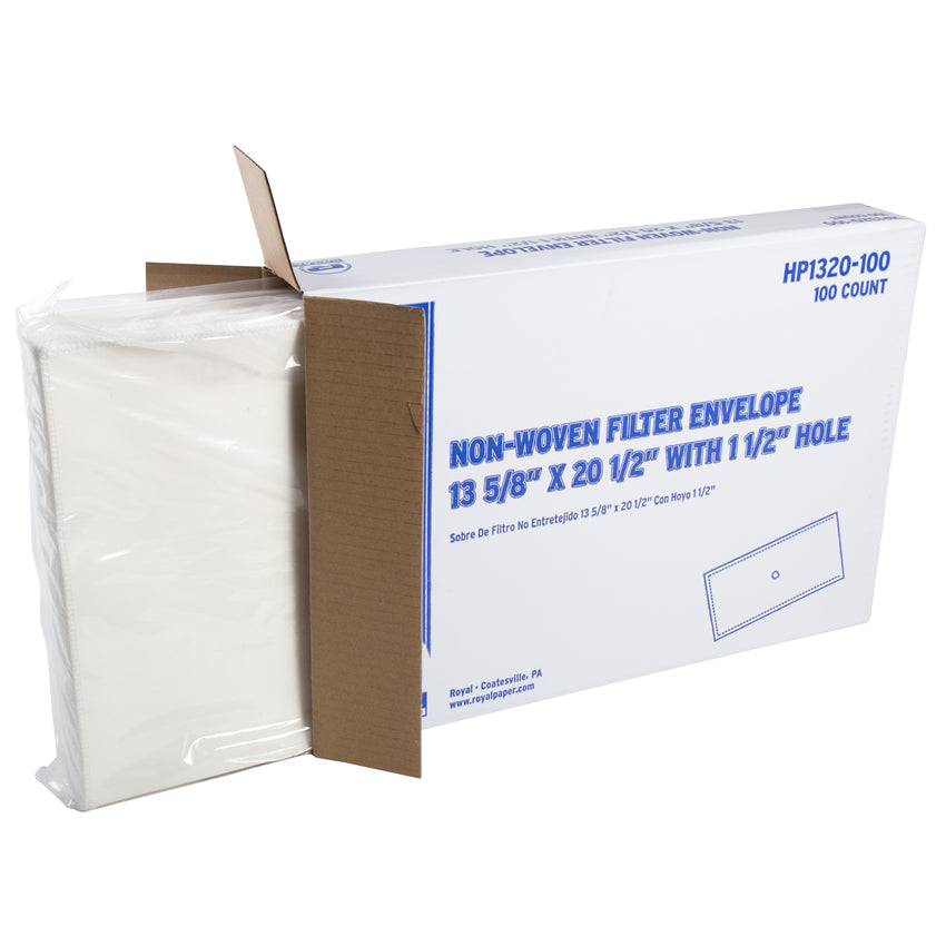 "NON-WOVEN FILTER ENVELOPE 13-3/4"" X 20-3/4"" WITH 1-1/2"" HOLE, Opened Case"