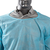 POLYPROPYLENE ISOLATION GOWN BLUE, Detailed Collar View