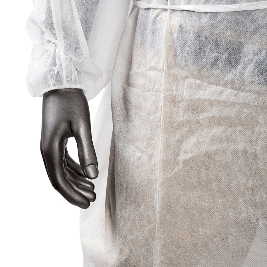 POLYPROPYLENE ISOLATION GOWN WHITE, Detailed Cuff View