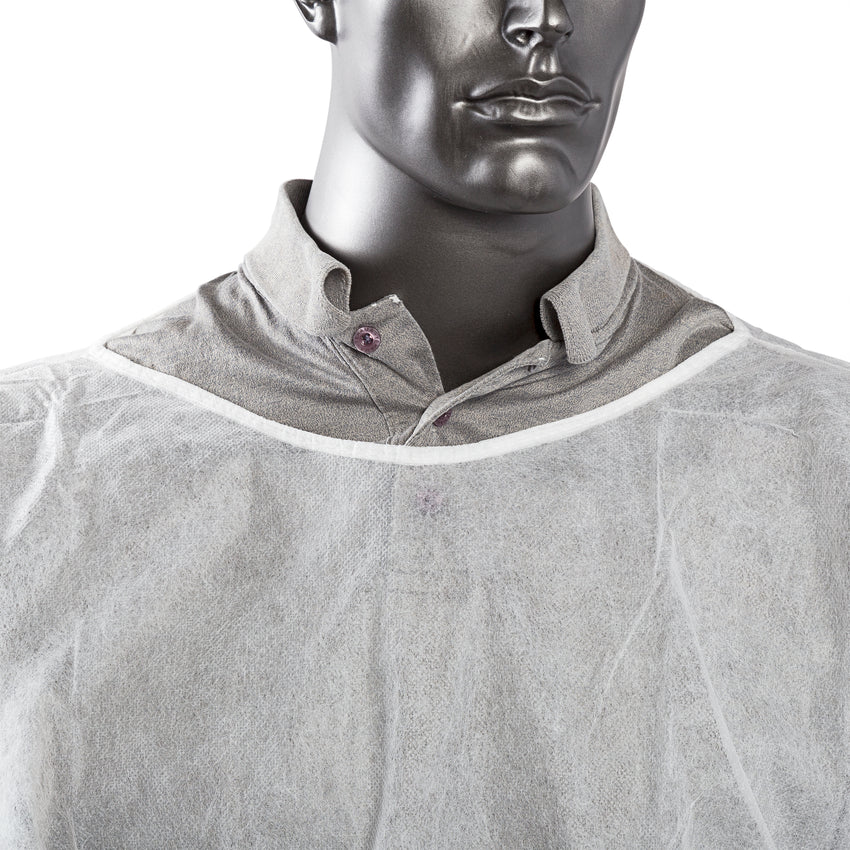POLYPROPYLENE ISOLATION GOWN WHITE, Detailed Collar View