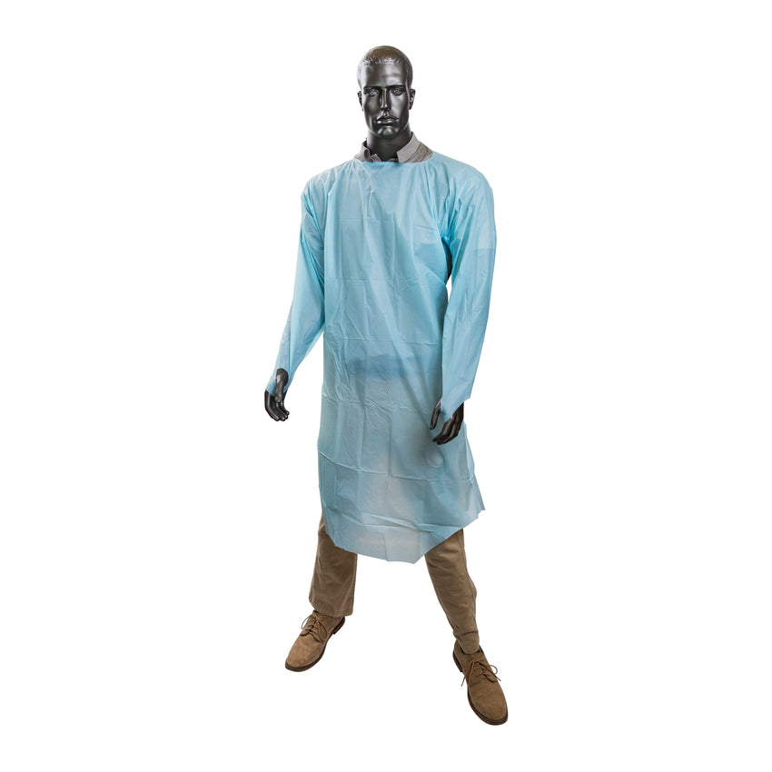 ISOLATION GOWN POLYETHYLENE WITH THUMB LOOPS, Mannequin Side View