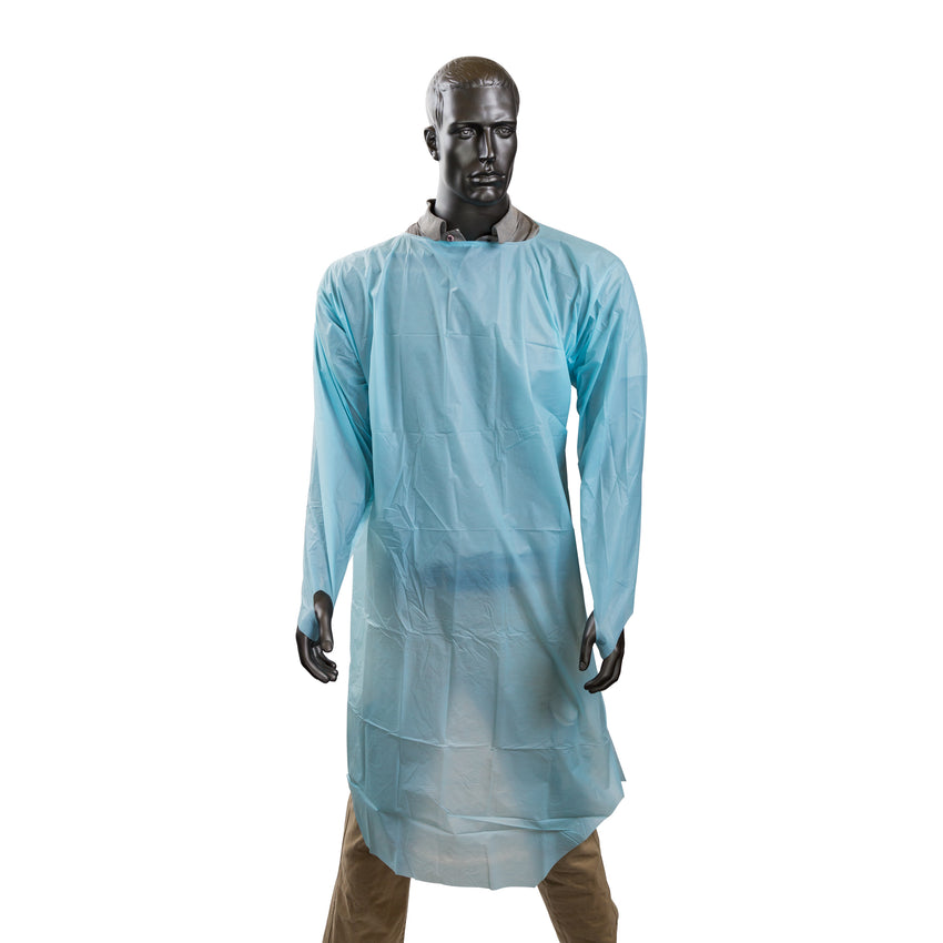 ISOLATION GOWN POLYETHYLENE WITH THUMB LOOPS, Mannequin Front View
