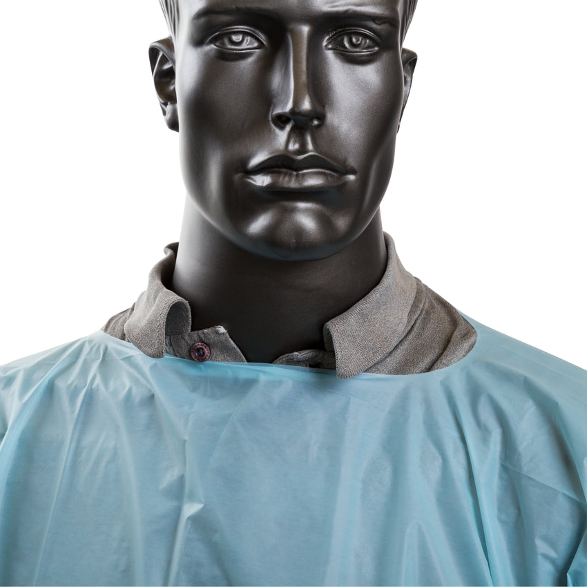 ISOLATION GOWN POLYETHYLENE WITH THUMB LOOPS, Detailed Collar View
