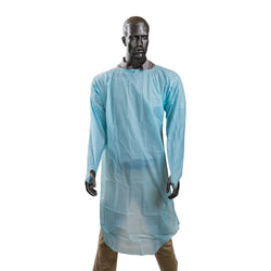 POLYETHYLENE ISOLATION GOWN WITH THUMB LOOPS BLUE