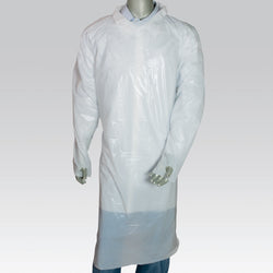 POLYETHYLENE ISOLATION GOWN WITH THUMB LOOPS WHITE