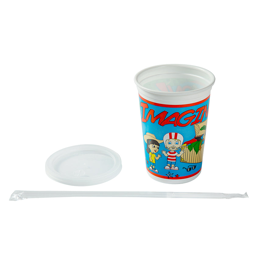 12 Oz Kids Cups, Imagination Theme, Cup, Lid and Straw