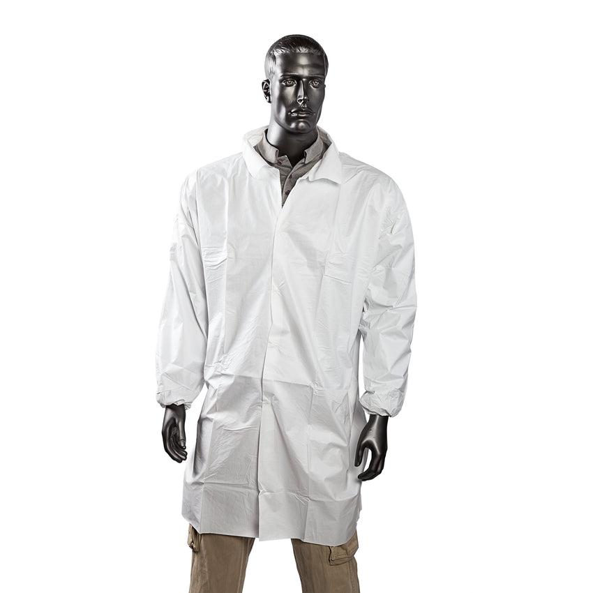 EYGUARD 2X LAB COAT NO POCKETS OPEN WRISTS SNAPS COLLAR