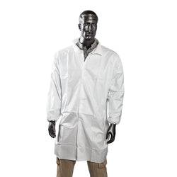 KEYGUARD L LAB COAT NO POCKETS OPEN WRISTS SNAPS COLLAR