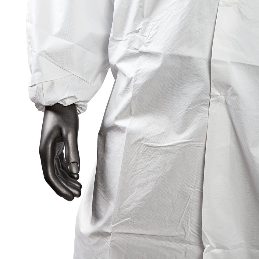 KEYGUARD M LAB COAT NO POCKETS OPEN WRISTS SNAPS COLLAR, button up