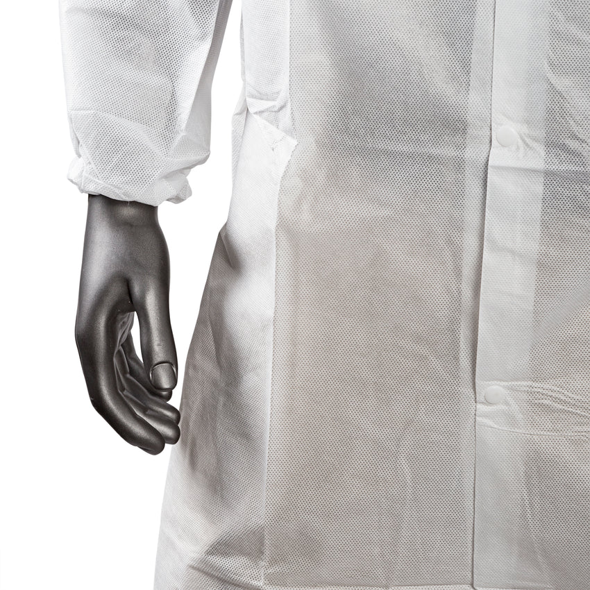SMS S LAB COAT NO POCKETS, ELASTIC WRISTS, material close up