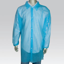 POLYPRO LAB COAT NO POCKET E-WRIST SNAPS COLLAR BLUE L