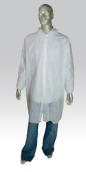 HD POLYPRO 2X LAB COAT WHITE NO POCKET E-WRIST SNAP FRONT