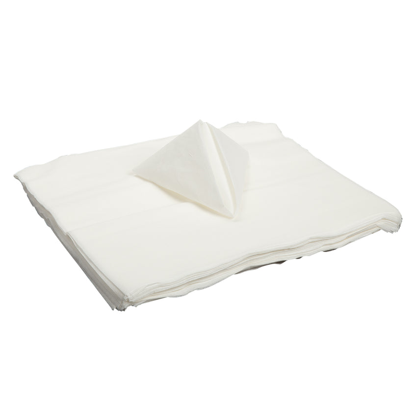 "14"" X 14"" AIRLAID NAPKIN FLAT Pack, Stack of Napkins With A Folded Napkin On Top"