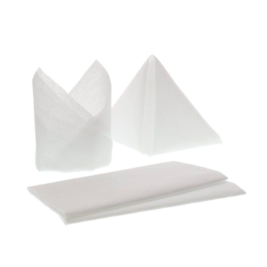 "AIRLAID NAPKIN FLAT Pack 16"" X 16"", Various Napkins With Different Fold Styles"