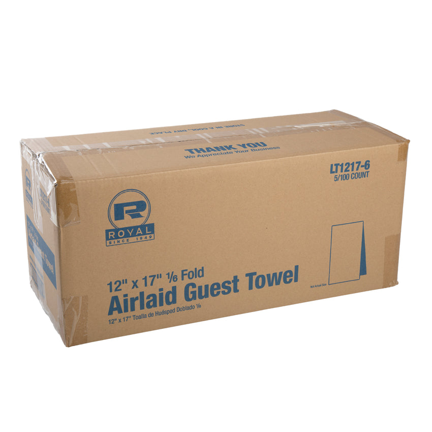 "AIRLAID GUEST TOWEL 1/6 FOLD 12"" X 17"", Closed Case"