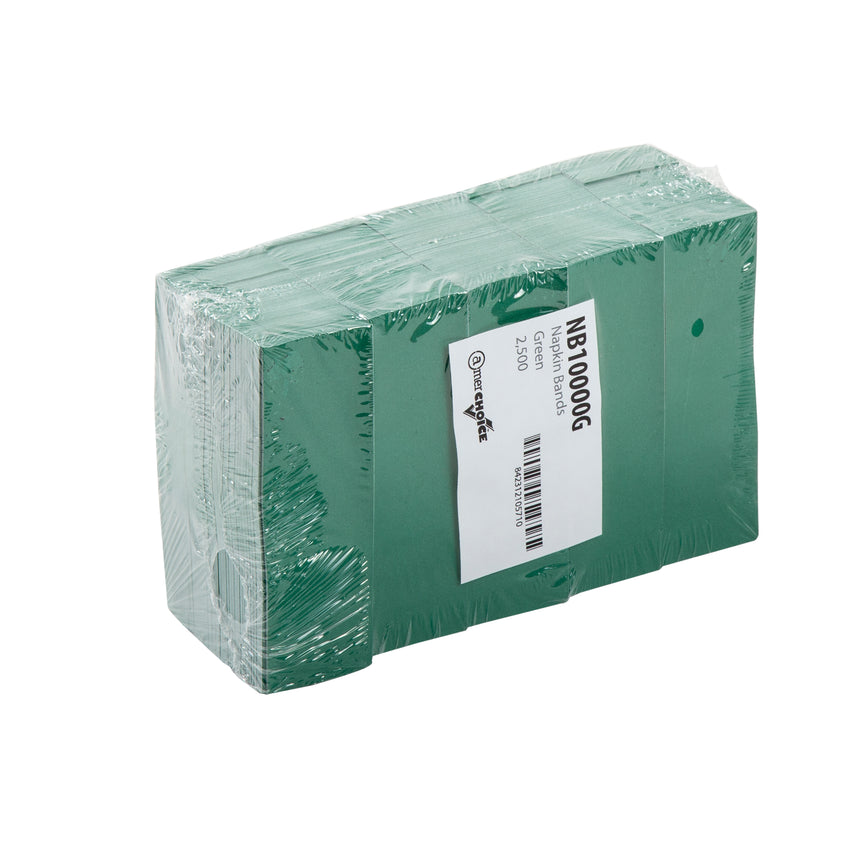 "Green Napkin Bands, 4.25"" x 1.5"", Inner Package"