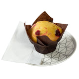 "Dispenser Napkin, 13"" x 12"", White, 1 Ply, Mini Fold, Embossed, Napkin Placed Under A Muffin On A Plate"