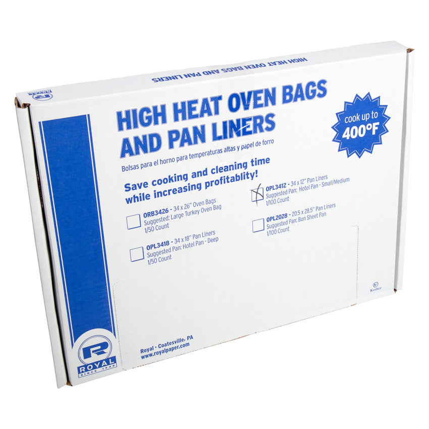 "HIGH HEAT OVEN PAN LINER SHALLOW FULL PAN 34"" X 12"", inner packaging"