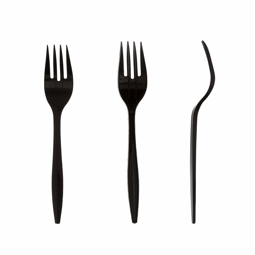 Black Polypropylene Fork, Medium Weight, Three Forks Side by Side