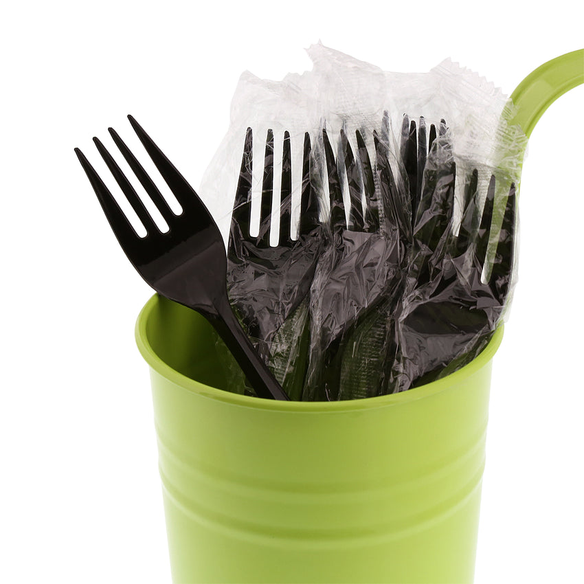 Black Polypropylene Fork, Medium Weight, Individually Wrapped, Image of Cutlery In A Cup