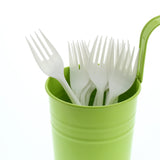 White Polypropylene Fork, Medium Weight, Image of Cutlery In A Cup