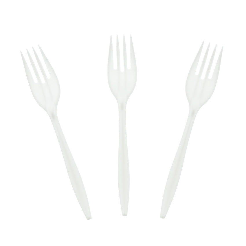 White Polypropylene Fork, Medium Weight, Group Image, Three Forks Fanned Out