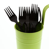 Black Polypropylene Fork, Medium Heavy Weight, Image of Cutlery In A Cup