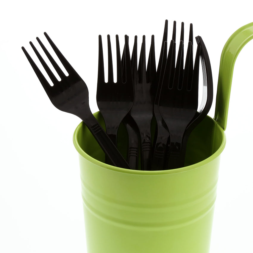 Black Polystyrene Fork, Medium Heavy Weight, Image of Cutlery In A Cup