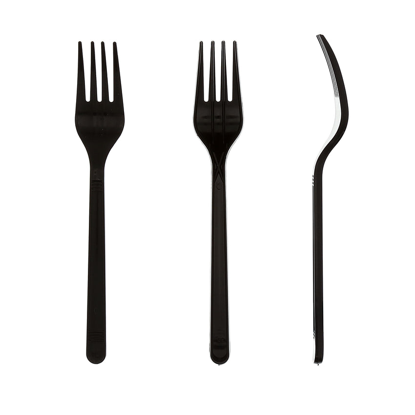 Black Polypropylene Fork, Medium Heavy Weight, Three Forks Side by Side