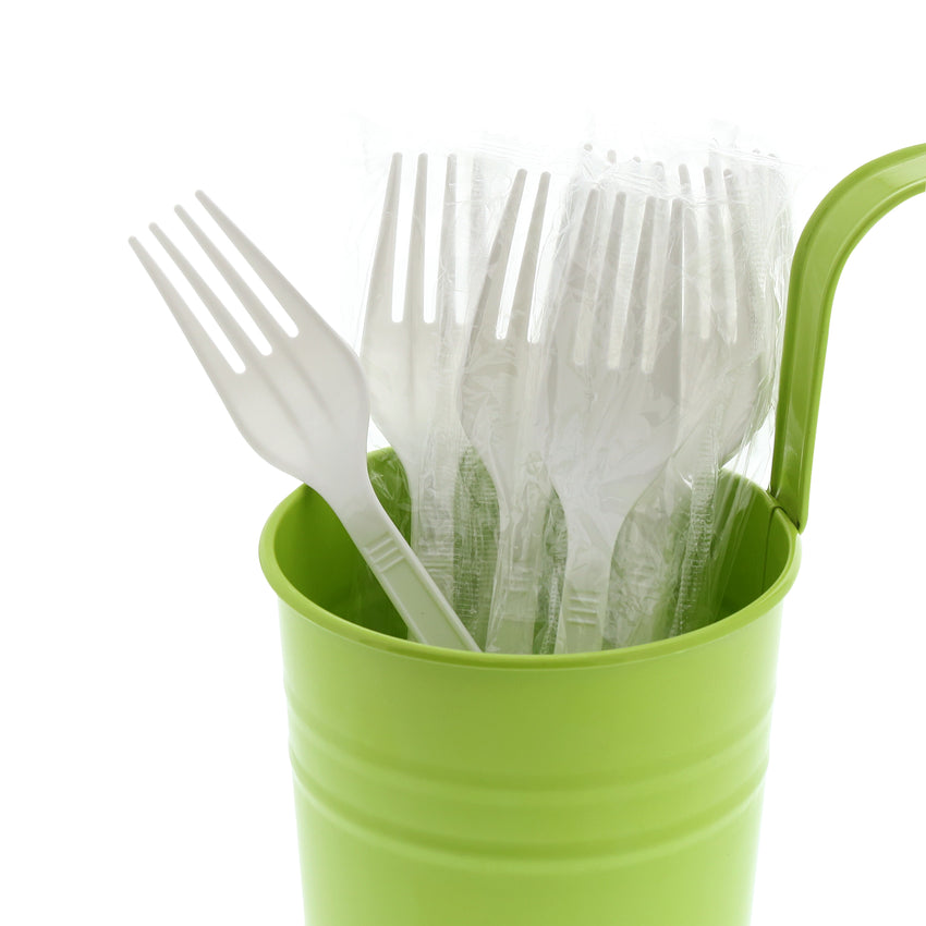 White Polypropylene Fork, Medium Heavy Weight, Individually Wrapped, Image of Cutlery In A Cup