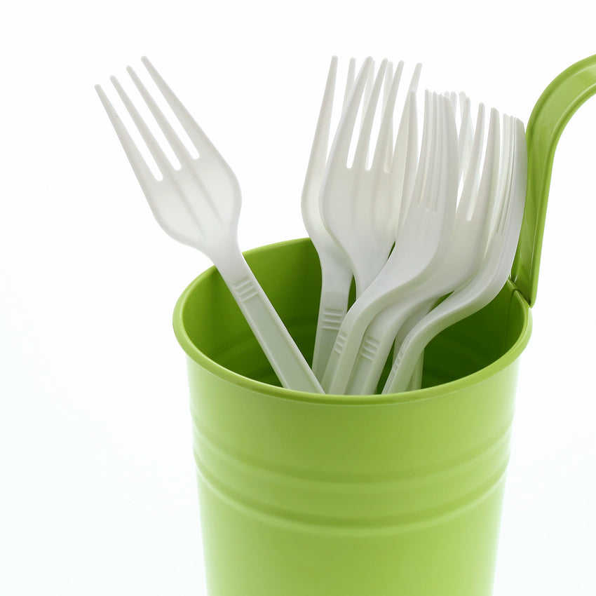 White Polypropylene Fork, Medium Heavy Weight, Image of Cutlery In A Cup