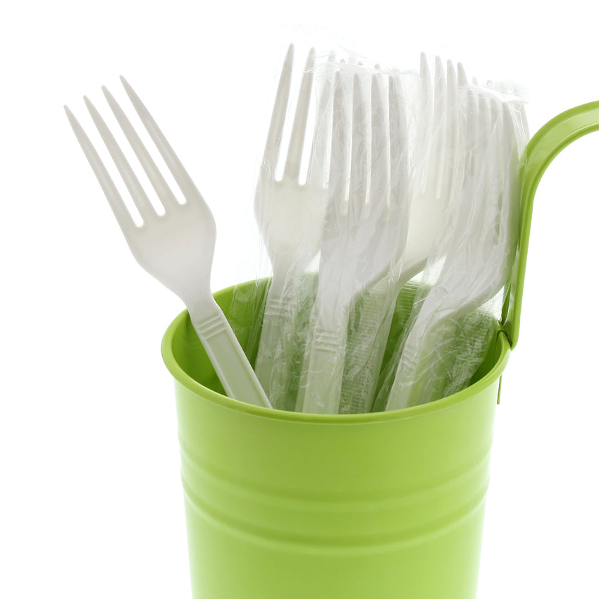 White Polypropylene Fork, Heavy Weight, Individually Wrapped, Image of Cutlery In A Cup