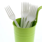 White Polypropylene Fork, Heavy Weight, Image of Cutlery In A Cup