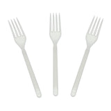 White Polypropylene Fork, Heavy Weight, Three Forks Fanned Out