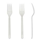 White Polypropylene Fork, Heavy Weight, Three Forks Side by Side