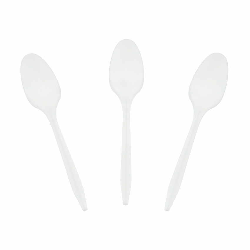 White Polypropylene Teaspoon, Medium Weight, Three Teaspoons Fanned Out