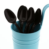 Black Polypropylene Teaspoon, Medium Heavy Weight, Image of Cutlery In A Cup